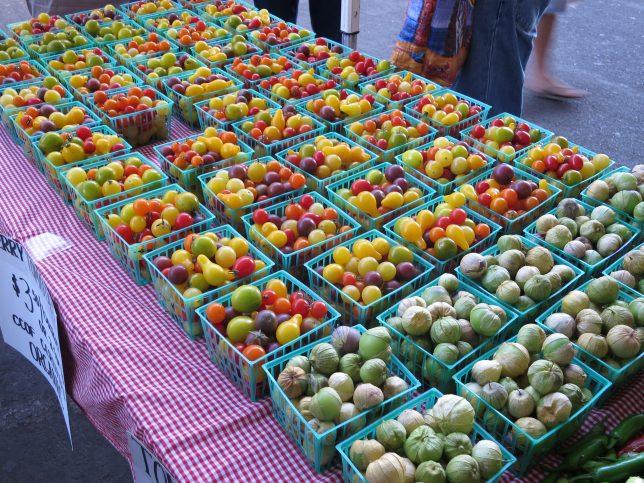 様々な色のトマト(右)と、トマティーヨ(左)